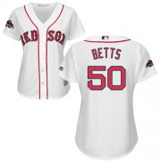 Wholesale Cheap Red Sox #50 Mookie Betts White Home 2018 World Series Champions Women's Stitched MLB Jersey