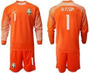 Wholesale Cheap Brazil #1 Alisson Orange Goalkeeper Long Sleeves Soccer Country Jersey