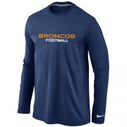 Wholesale Cheap Nike Denver Broncos Authentic Font Long Sleeve T-Shirt Dark Blue