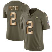 Wholesale Cheap Nike Eagles #2 Jalen Hurts Olive/Gold Youth Stitched NFL Limited 2017 Salute To Service Jersey