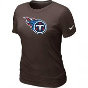 Wholesale Cheap Women's Nike Tennessee Titans Logo NFL T-Shirt Brown