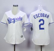 Wholesale Cheap Royals #2 Alcides Escobar White Home Women's Stitched MLB Jersey