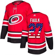 Wholesale Cheap Adidas Hurricanes #27 Justin Faulk Red Home Authentic USA Flag Stitched Youth NHL Jersey