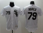 Wholesale Cheap White Sox #79 Jose Abreu White(Black Strip) Flexbase Authentic Collection Stitched MLB Jersey