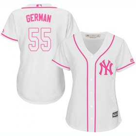 Wholesale Cheap Yankees #55 Domingo German White/Pink Fashion Women\'s Stitched MLB Jersey