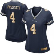Wholesale Cheap Nike Cowboys #4 Dak Prescott Navy Blue Team Color Women's Stitched NFL Elite Gold Jersey