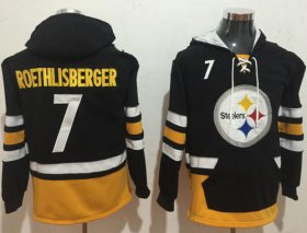 Wholesale Cheap Nike Steelers #7 Ben Roethlisberger Black/Gold Name & Number Pullover NFL Hoodie
