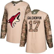 Wholesale Cheap Adidas Coyotes #17 Alex Galchenyuk Camo Authentic 2017 Veterans Day Stitched Youth NHL Jersey