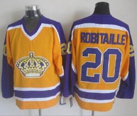 Wholesale Cheap Kings #20 Luc Robitaille Yellow CCM Throwback Stitched NHL Jersey