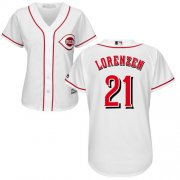 Wholesale Cheap Reds #21 Michael Lorenzen White Home Women's Stitched MLB Jersey