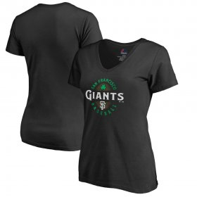 Wholesale Cheap San Francisco Giants Majestic Women\'s Forever Lucky V-Neck T-Shirt Black