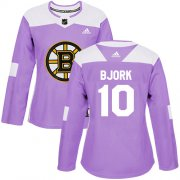 Wholesale Cheap Adidas Bruins #10 Anders Bjork Purple Authentic Fights Cancer Women's Stitched NHL Jersey