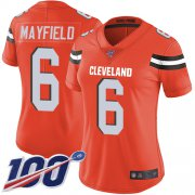 Wholesale Cheap Nike Browns #6 Baker Mayfield Orange Alternate Women's Stitched NFL 100th Season Vapor Limited Jersey