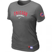 Wholesale Cheap Women's Chicago Cubs Nike Short Sleeve Practice MLB T-Shirt Crow Grey