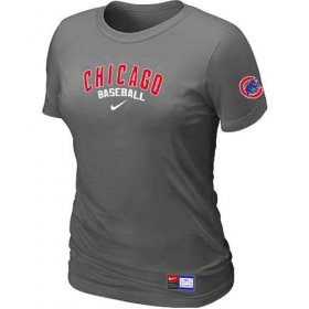 Wholesale Cheap Women\'s Chicago Cubs Nike Short Sleeve Practice MLB T-Shirt Crow Grey