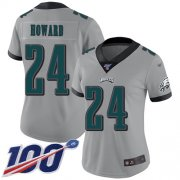 Wholesale Cheap Nike Eagles #24 Jordan Howard Silver Women's Stitched NFL Limited Inverted Legend 100th Season Jersey