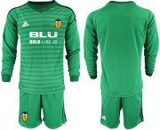 Wholesale Cheap Valencia Blank Green Goalkeeper Long Sleeves Soccer Club Jersey
