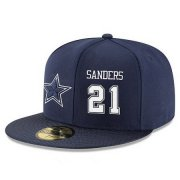 Wholesale Cheap Dallas Cowboys #21 Deion Sanders Snapback Cap NFL Player Navy Blue with White Number Stitched Hat
