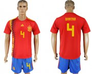 Wholesale Cheap Spain #4 Bartra Home Soccer Country Jersey