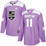 Wholesale Cheap Adidas Kings #11 Anze Kopitar Purple Authentic Fights Cancer Stitched NHL Jersey