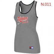 Wholesale Cheap Women's Nike Minnesota Twins Tri-Blend Racerback Stretch Tank Top Light Grey
