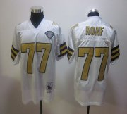 Wholesale Cheap Mitchell And Ness Saints #77 Willie Roaf White Stitched NFL Jersey