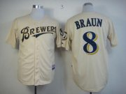 Wholesale Cheap Brewers #8 Ryan Braun Cream YOUniform Cool Base Stitched MLB Jersey