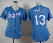 Wholesale Cheap Royals #13 Salvador Perez Light Blue Alternate 1 Women's Stitched MLB Jersey