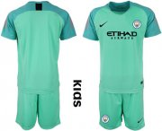 Wholesale Cheap Manchester City Blank Green Goalkeeper Kid Soccer Club Jersey