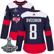 Wholesale Cheap Adidas Capitals #8 Alex Ovechkin Navy Authentic 2018 Stadium Series Stanley Cup Final Champions Women's Stitched NHL Jersey