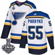 Wholesale Cheap Adidas Blues #55 Colton Parayko White Road Authentic 2019 Stanley Cup Final Stitched NHL Jersey