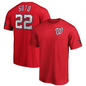 Wholesale Cheap Washington Nationals #22 Juan Soto Majestic 2019 World Series Champions Name & Number T-Shirt Red
