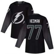 Wholesale Cheap Adidas Lightning #77 Victor Hedman Black Alternate Authentic Stitched NHL Jersey