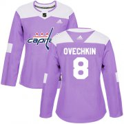 Wholesale Cheap Adidas Capitals #8 Alex Ovechkin Purple Authentic Fights Cancer Women's Stitched NHL Jersey