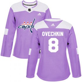 Wholesale Cheap Adidas Capitals #8 Alex Ovechkin Purple Authentic Fights Cancer Women\'s Stitched NHL Jersey
