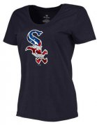 Wholesale Cheap Women's Chicago White Sox USA Flag Fashion T-Shirt Navy Blue