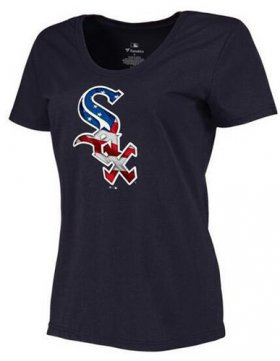 Wholesale Cheap Women\'s Chicago White Sox USA Flag Fashion T-Shirt Navy Blue