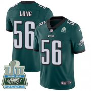 Wholesale Cheap Nike Eagles #56 Chris Long Midnight Green Team Color Super Bowl LII Champions Men's Stitched NFL Vapor Untouchable Limited Jersey