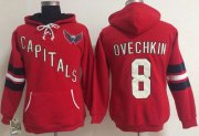 Wholesale Cheap Washington Capitals #8 Alex Ovechkin Red Women's Old Time Heidi NHL Hoodie