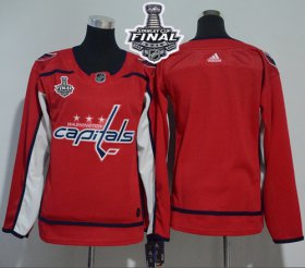 Wholesale Cheap Adidas Capitals Blank Red Home Authentic Stanley Cup Final Champions Women\'s Stitched NHL Jersey