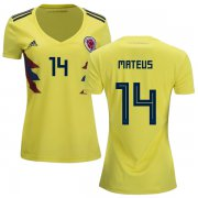 Wholesale Cheap Women's Colombia #14 Mateus Home Soccer Country Jersey