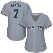 Wholesale Cheap Yankees #7 Mickey Mantle Grey Road Women's Stitched MLB Jersey