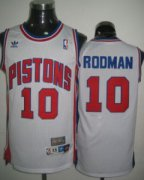 Wholesale Cheap Detroit Pistons #10 Dennis Rodman White Swingman Throwback Jersey