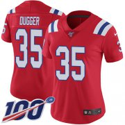 Wholesale Cheap Nike Patriots #35 Kyle Dugger Red Alternate Women's Stitched NFL 100th Season Vapor Untouchable Limited Jersey