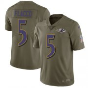 Wholesale Cheap Nike Ravens #5 Joe Flacco Olive Youth Stitched NFL Limited 2017 Salute to Service Jersey