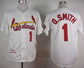 Wholesale Cheap Mitchell And Ness 1992 Cardinals #1 Ozzie Smith White Stitched MLB Jersey