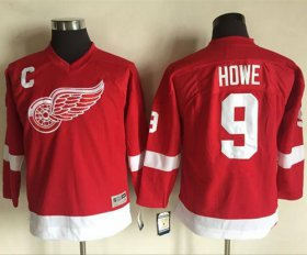 Wholesale Cheap Red Wings #9 Gordie Howe Red CCM Throwback Stitched Youth NHL Jersey