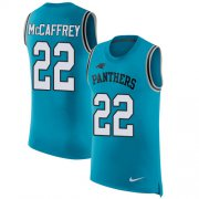 Wholesale Cheap Nike Panthers #22 Christian McCaffrey Blue Alternate Men's Stitched NFL Limited Rush Tank Top Jersey