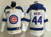 Wholesale Cheap Cubs #44 Anthony Rizzo White Sawyer Hooded Sweatshirt MLB Hoodie