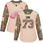 Wholesale Cheap Adidas Red Wings #73 Adam Erne Camo Authentic 2017 Veterans Day Women's Stitched NHL Jersey